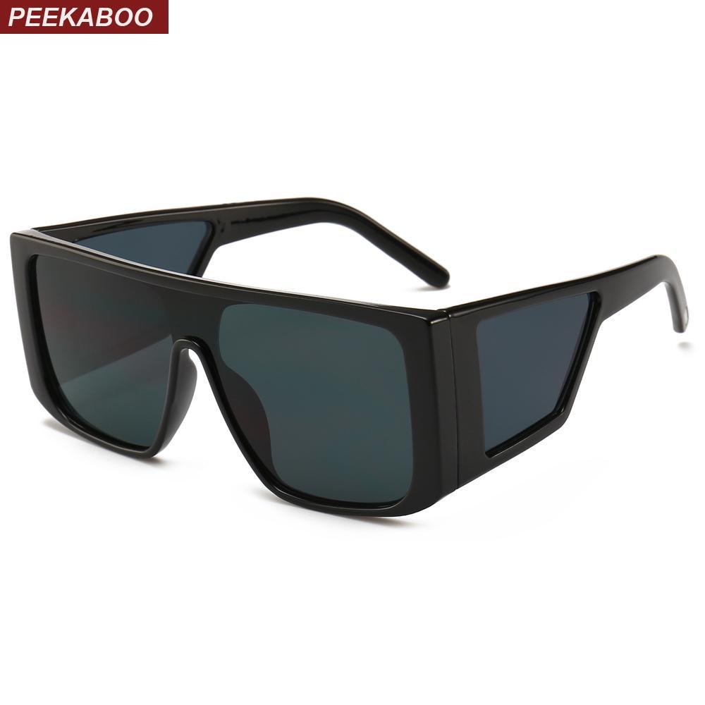 1cb174141c8 Peekaboo Black Oversized Shield Sunglasses For Men Square Big Frame Sun  Glasses For Women 2019 Uv400 Windproof Retro Sunglasses Baseball Sunglasses  From ...