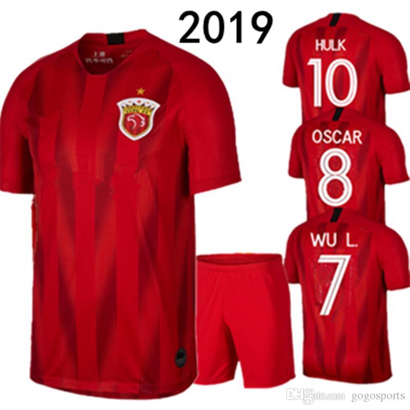 huge selection of 70b99 13b68 Top quality 2019 Shanghai SIPG Home Soccer Jerseys Sets Men Oscar Elkeson  HULK WU L Akhmedov Football shirts SHANGGANG football kit