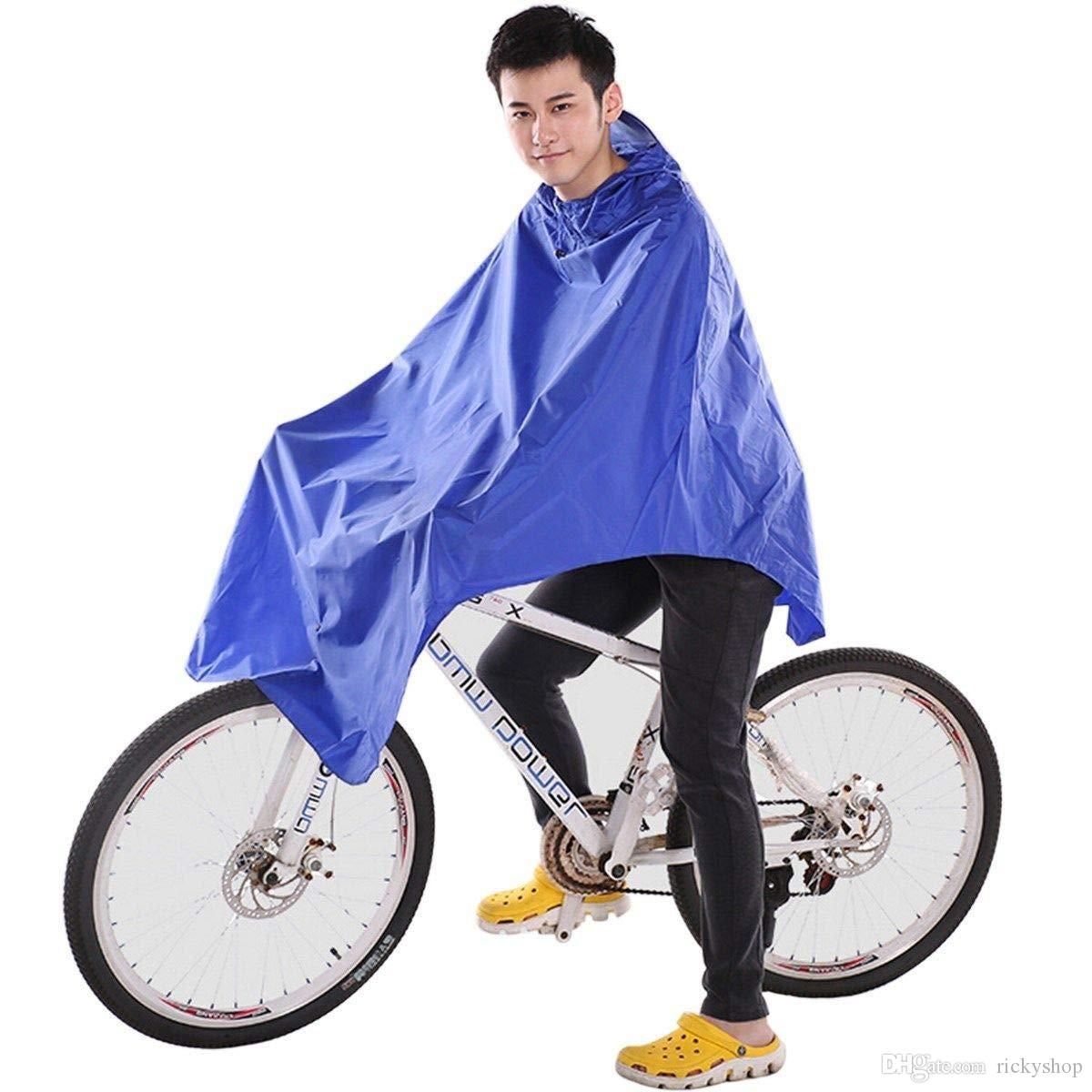 Ting Ao Cycling Bicycle Bike Raincoat Rain Cape Poncho Cloth Gear Rainproof Blue Comfort