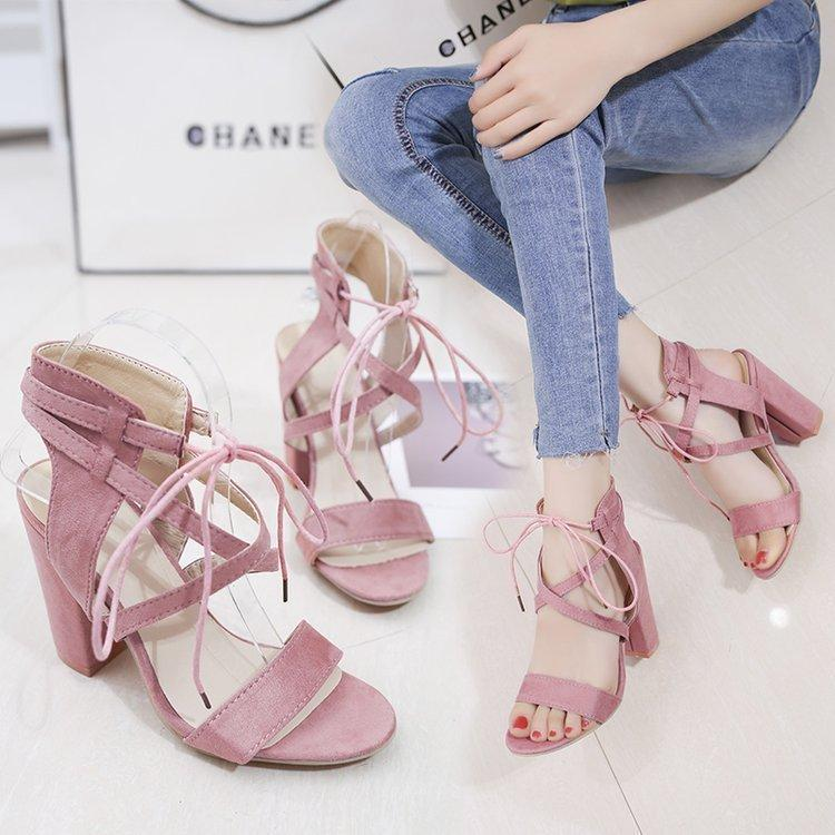 f9f3e9c066c0 Sexy2019 Wish Amazon European Wind Chalaza Bandage One Word Type Sandals  Coarse With Women S Shoes Foreign Trade Will Code Heeled Sandals Boys  Sandals From ...