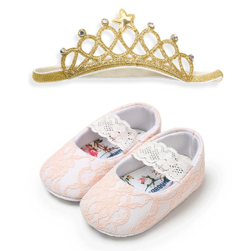 0a73e9f1672 2019 Soft Leather Baby Toddler Kids Girls Clothes Crawling Walking Shoes  Lace Non Slip Sole Prewalker Geometry Headband From Askkit