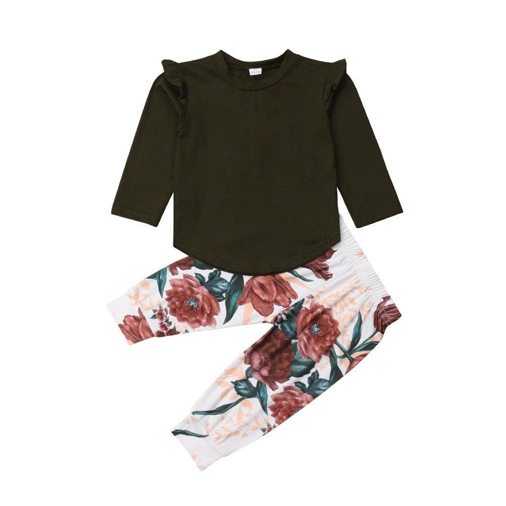 fbbfad683b49 2019 Emmababy Toddler Kids Baby Girl Floral Shirt Tops Pants ...