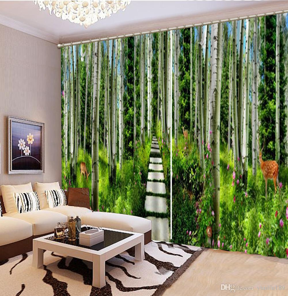 Curtain 3d Beautiful Forest Flowers Filled With Deer Hordes 3D Landscape Curtains Living Room Bedroom Beautiful Practical Blackout Curtains