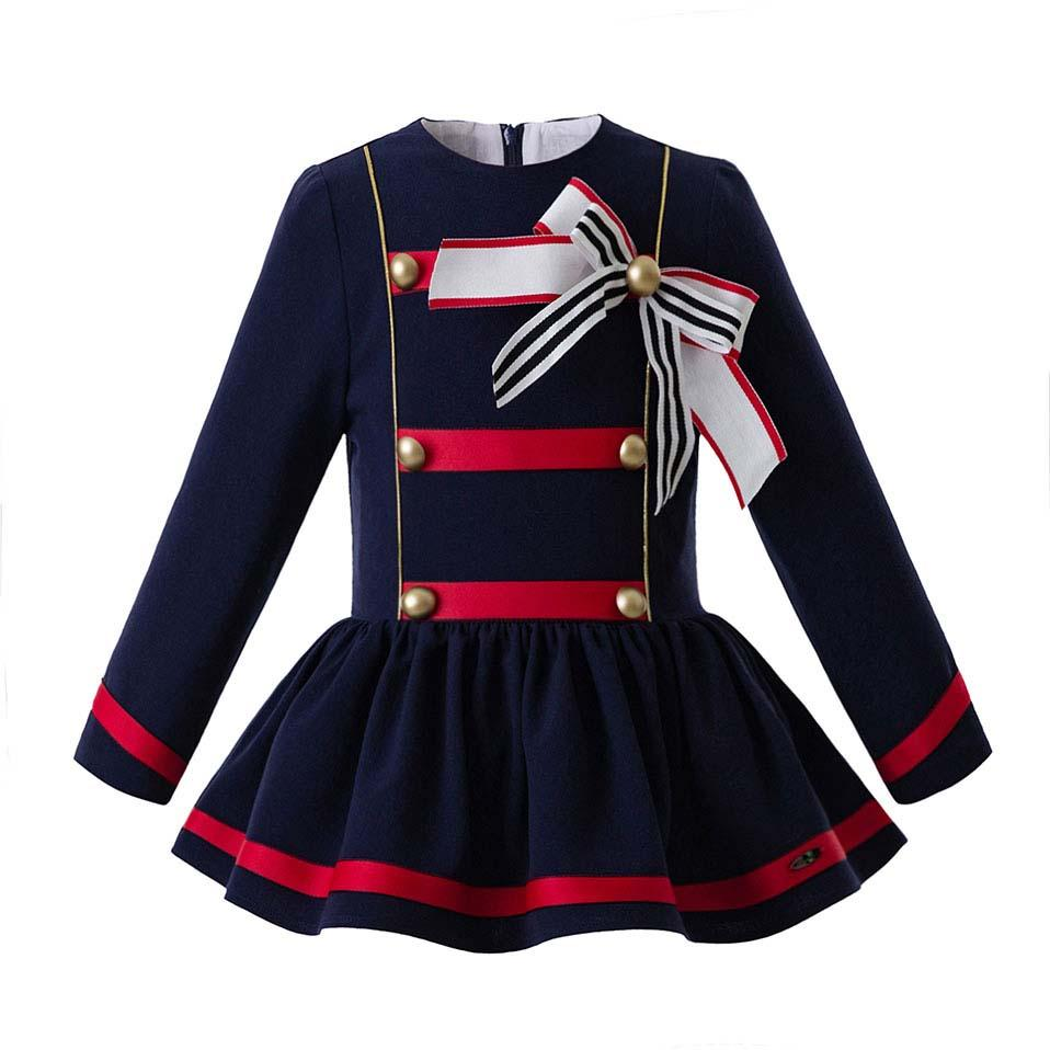 86dacaa19e Pettigirl Autumn Royal Blue Girl Party Dress With Bows England Style Dresses  Boutique Children Wear With Buttons G-DMGD106-B314