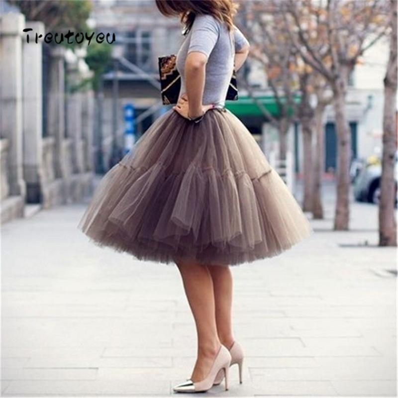 db98bf4dd 5 Capas 55 cm Falda de tul Tutu Midi Vintage Faldas Plisadas Mujer Lolita  Enagua Dama de honor Faldas Mujer Saias Jupe Q190508