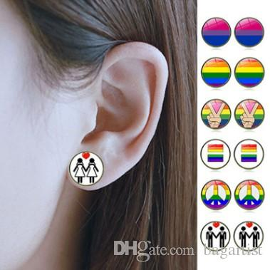 Mixed Rainbow Lgbt Gay Pride Earring Exclusive Ear Stud Jewelries Accessories Jewelry Allergy Free Ear Nail Accessories Cabochon Ear Studs