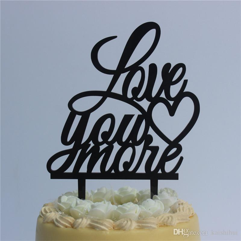 Romantic Wedding Anniversary Cake Toppers Script Love You More