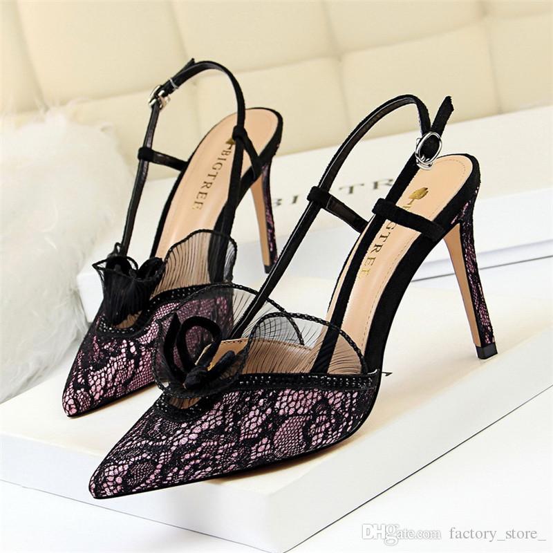 f3cd2595ee7b0 Women Shoes Lace Rhinestone Sandals High Heels Shoes Woman Luxury ...