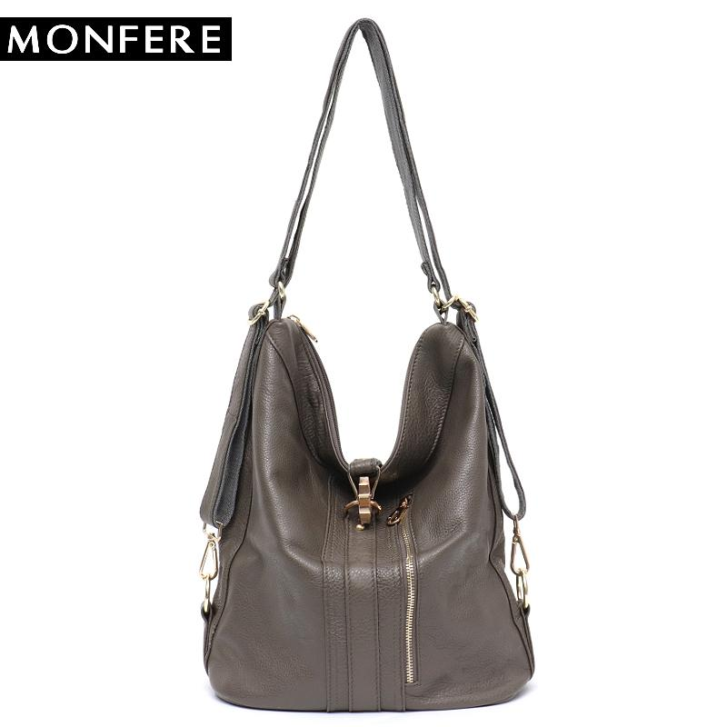 57e242aadf MONFERE Women Genuine Leather Handbags Work Tote Bag Slouchy Cow Leather  Hobo Large Capacity Shoulder Day Packs High Quality Bag Messenger Bags  Crossbody ...