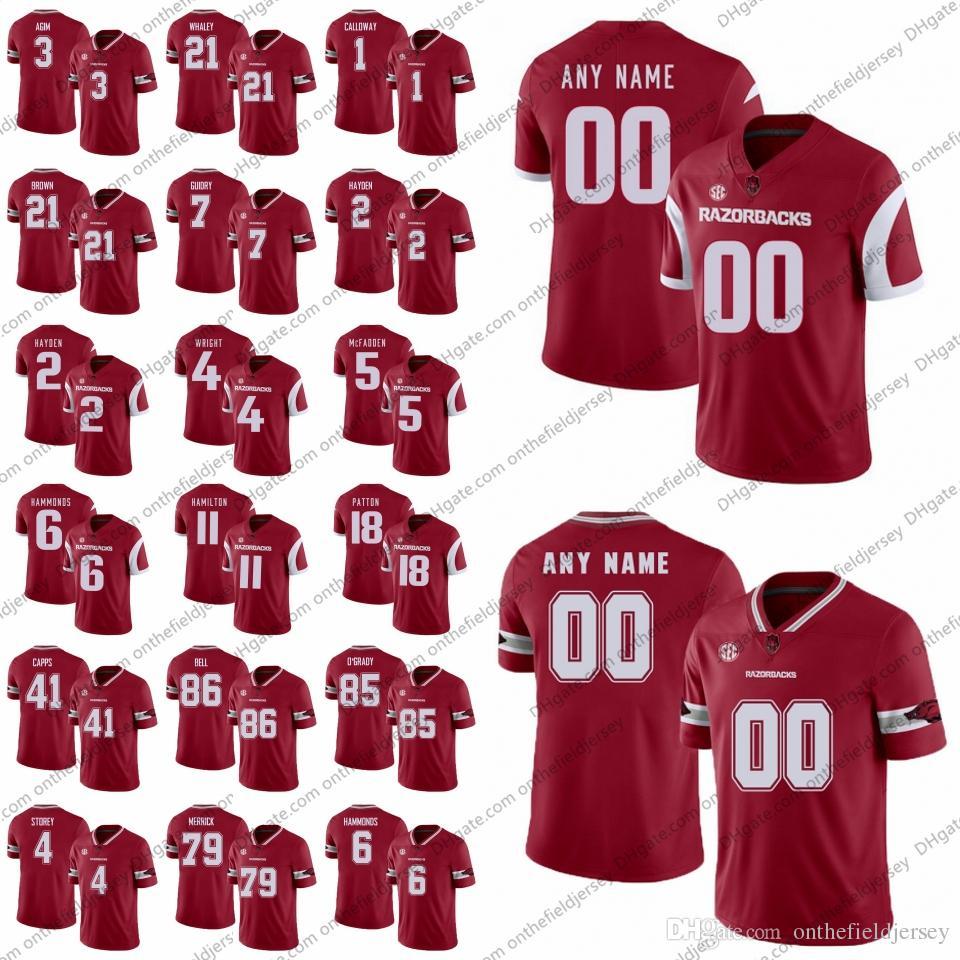 bbfa405bfa5 2019 Custom Arkansas Razorbacks College Football Jersey Any Name Number 3  McTelvin Agim 21 Devwah Whaley 1 Chevin Calloway 86 Jamario Bell S 4XL From  ...