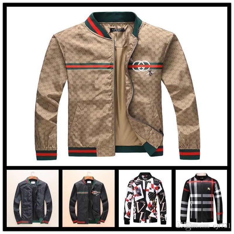 0b1fde6716b7 Italy Designer Mens Jackets New Fashion Casual Printed Outerwear Coats Plus  Size Black Red Sportswear Zipper Spring AutumM 3XL Denim Jacket Fur Denim  Jacket ...