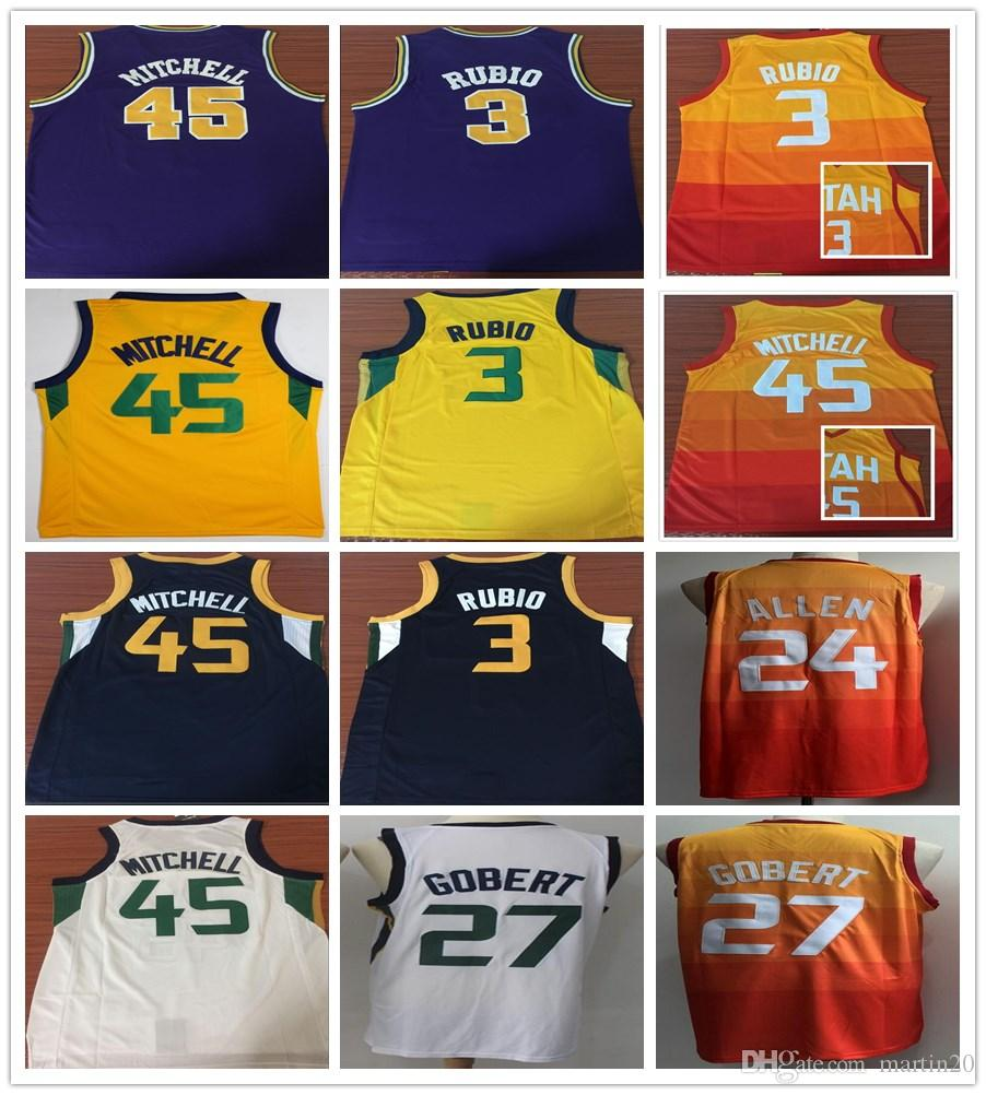 Stitched New City Edition 45 Donovan Mitchell Jerseys Purple Orange Blue  White 3 Ricky Rubio 27 Rudy Gobert 24 Grayson Allen Jersey Shirt Donovan  Mitchell ... 06db2cef4
