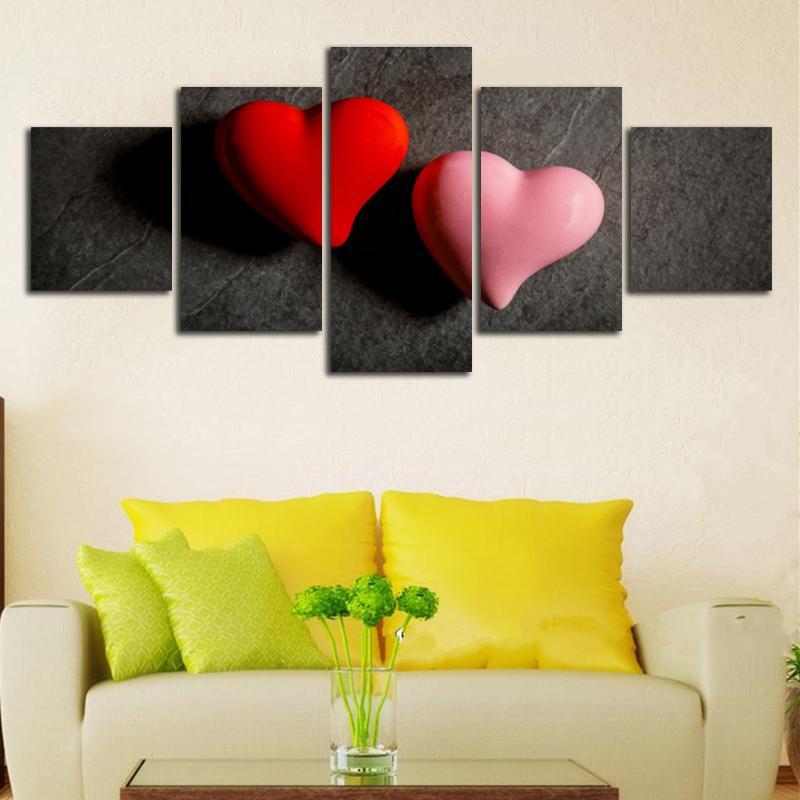 Satın Al Kırmızı Pembe Kalp Modüler Resimler Ev Dekor Tuval Wall Art