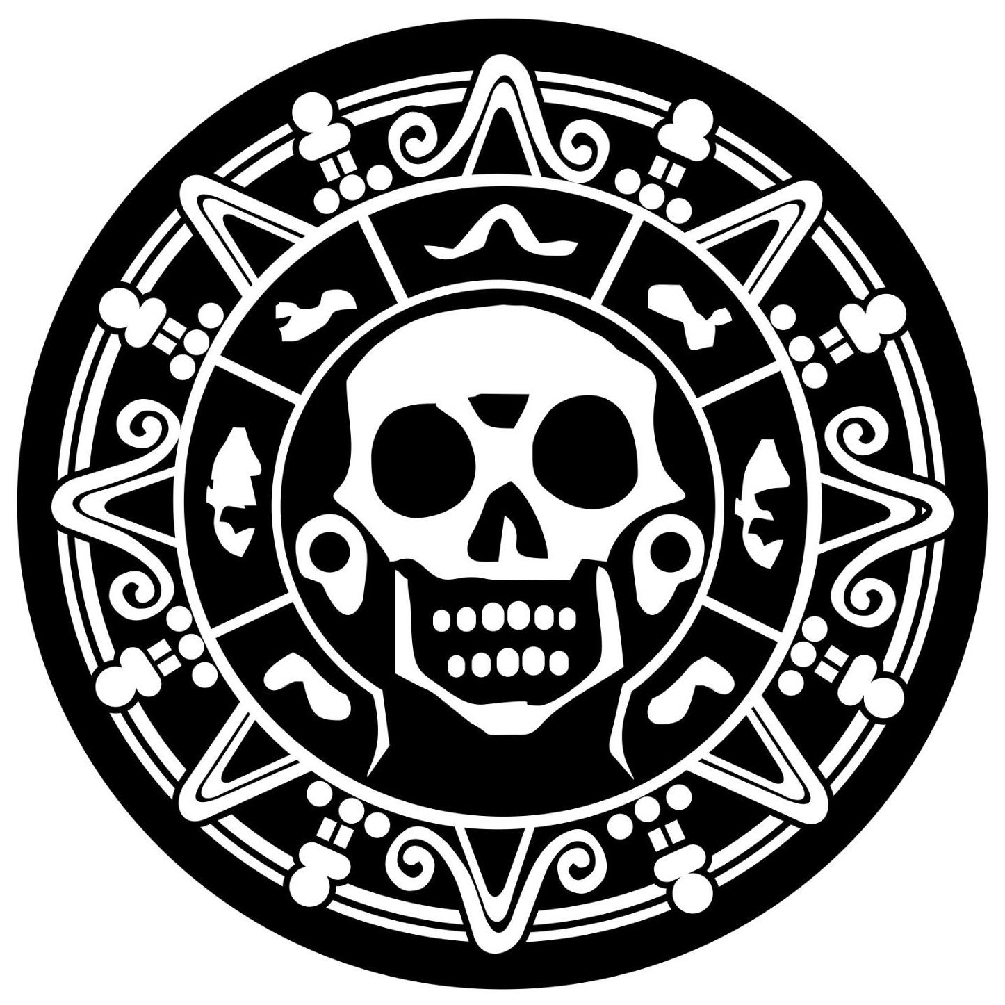Pirate Skull Medallion decal sticker car truck window lap top Many Colors Vinyl Hobby Car Bumper Sticker