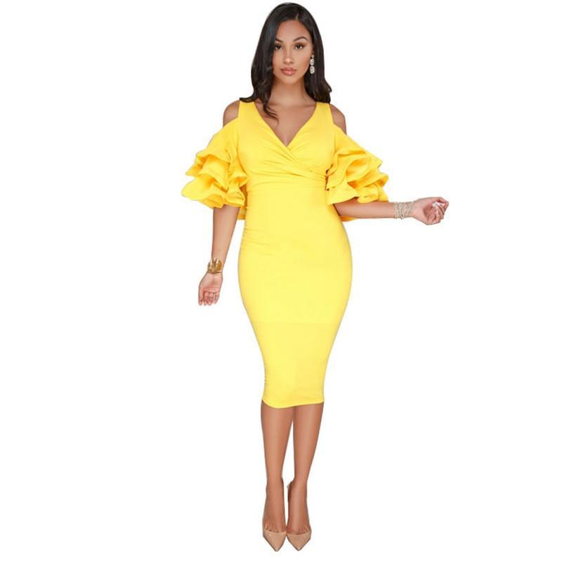 634afc693db 2019 Summer Sexy V Neck Off Shoulder Ruffles Sleeve Dress Back Split  Bodycon Dresses Vestido De Festa Curto Ez  Dresses Cheap Dresses 2019 Summer  Sexy V ...