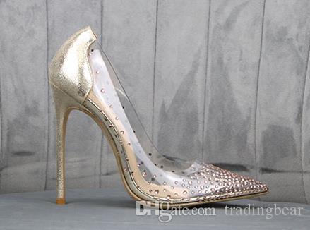 Logo Ve Kutu Gelin Düğün Ayakkabıları Lüks Kırmızı Alt Yüksek Topuklar Temizle Kristal Rhinestone Elbise Ayakkabı Boyutu gel 35 To 40 41