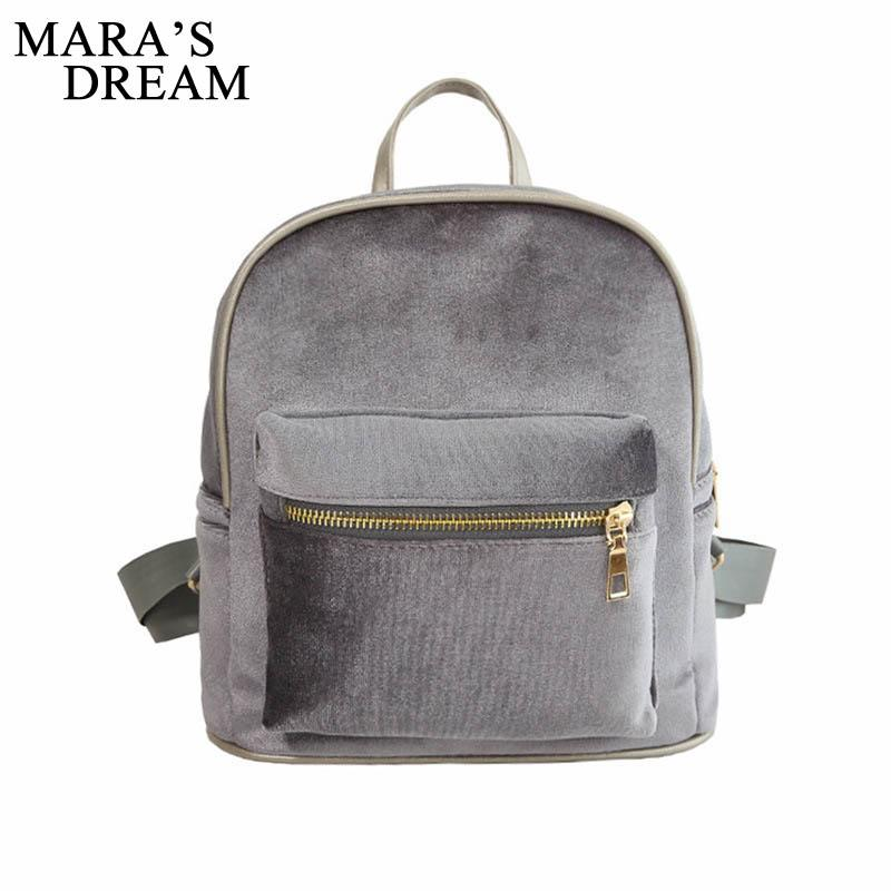 84bec7abec Mara S Dream Women Velvet Backpacks Mochila Feminine Mini Small Black  Backpack Female Rucksack Shoulder Bag For Teenage Girls School Backpacks  Cool ...