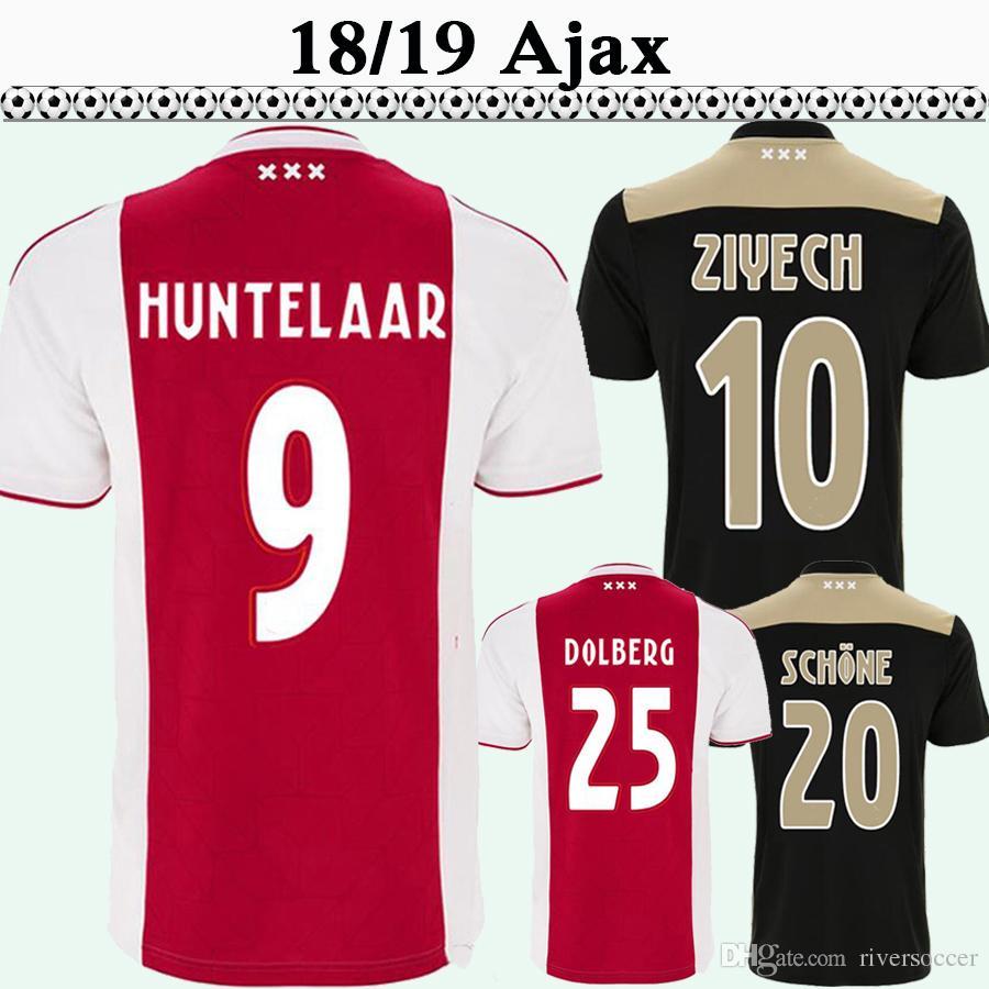 74c1e0bf8c7 2019 18 19 Ajax HUNTELAAR Mens Soccer Jerseys DOLBERG ZIYECH Home Away  Football Shirts NERES YOUNES L.SCHONE High Quality Short Sleeve Uniforms  From ...