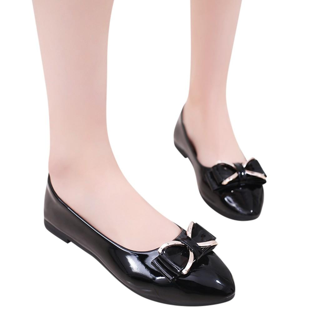 9bc08ca1a6 Women Flat Shoes 2019 New Fashion Metal Bowknot Shallow Single Flat Pointed  Toe Casual Shoes Ladies PU Leather Work
