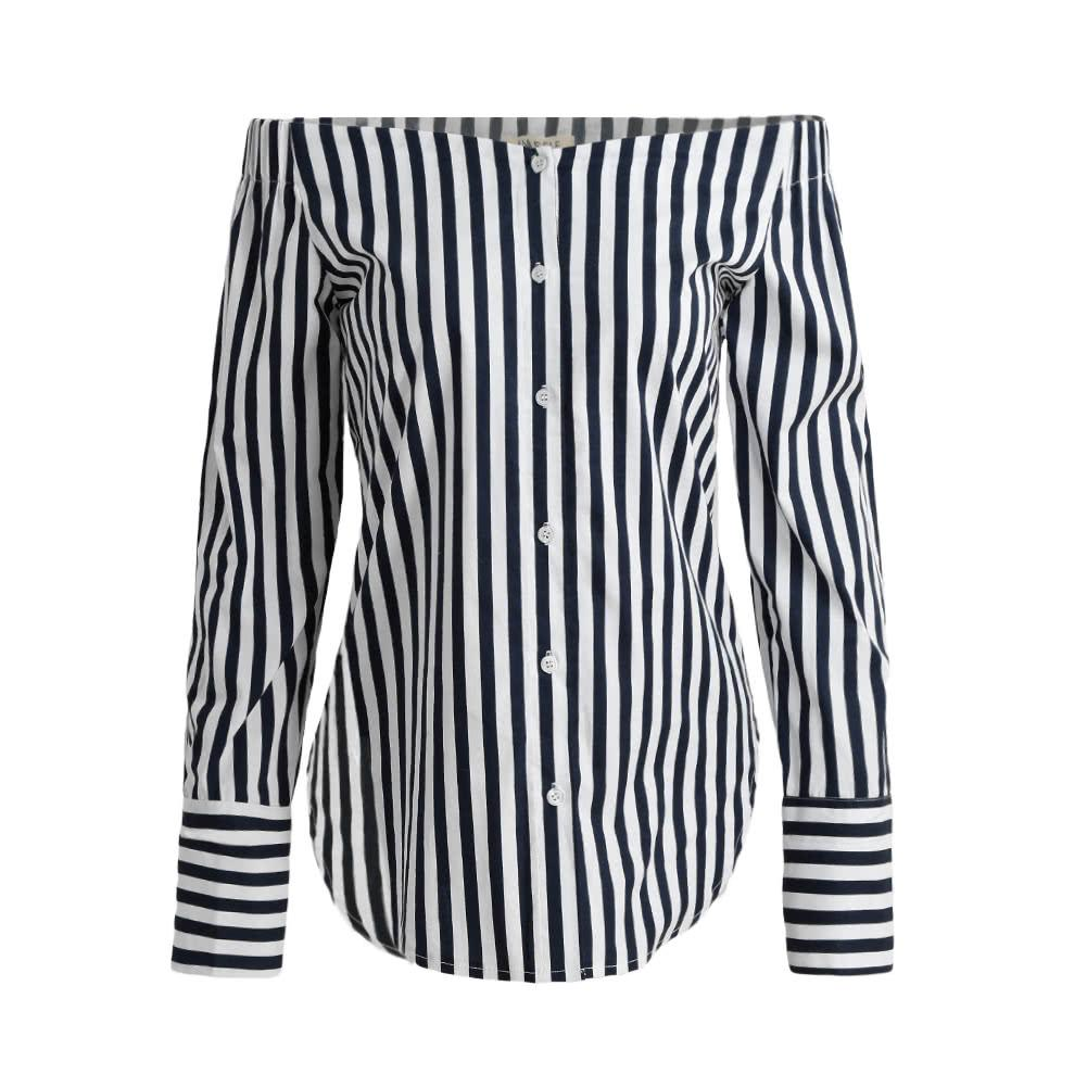 9a614ae9a53 2019 2019 Women Fashion Striped Shirt Off The Shoulder Top Cotton Long  Sleeve Female Blouse Top Dark Blue Blusa Mujeres From Insino, $20.1 |  DHgate.Com