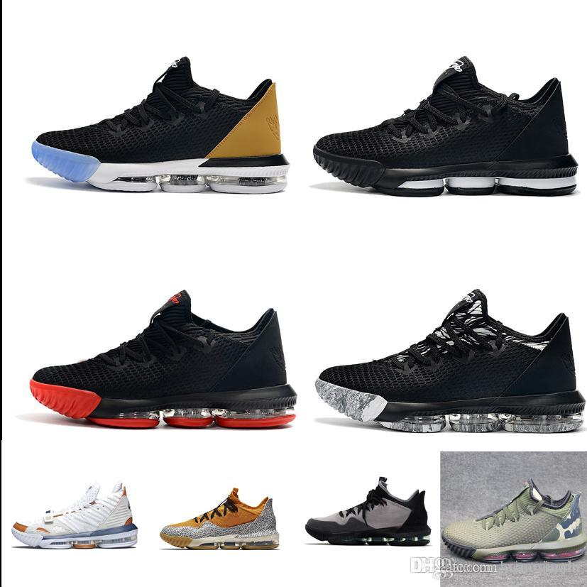 size 40 8f418 9e754 Cheap mens lebron 16 low basketball shoes for sale Black Gold Tan Red White  Grey Multi youth kids new lebrons sneakers with box size 7 12