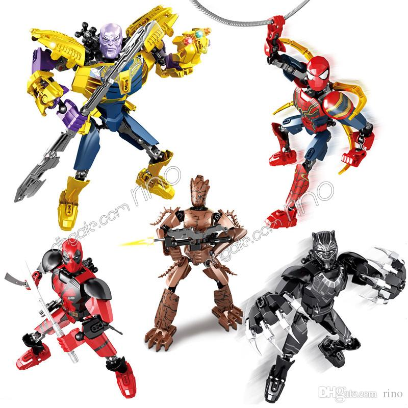 Spider-Man Groot Deadpool Thanos Black Panther Marvel building blocks Avengers Kid Toys Gifts Superhero Action Figures Movable Joint Blocks