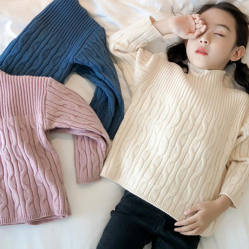 62d8cd14f9417b Korea Style Pullover Sweater For Girls Gift For Teenagers Kids Winter Wear  Turtleneck Knitted Jacket Girls Clothes For 2 9 Years Free Knitting  Patterns ...