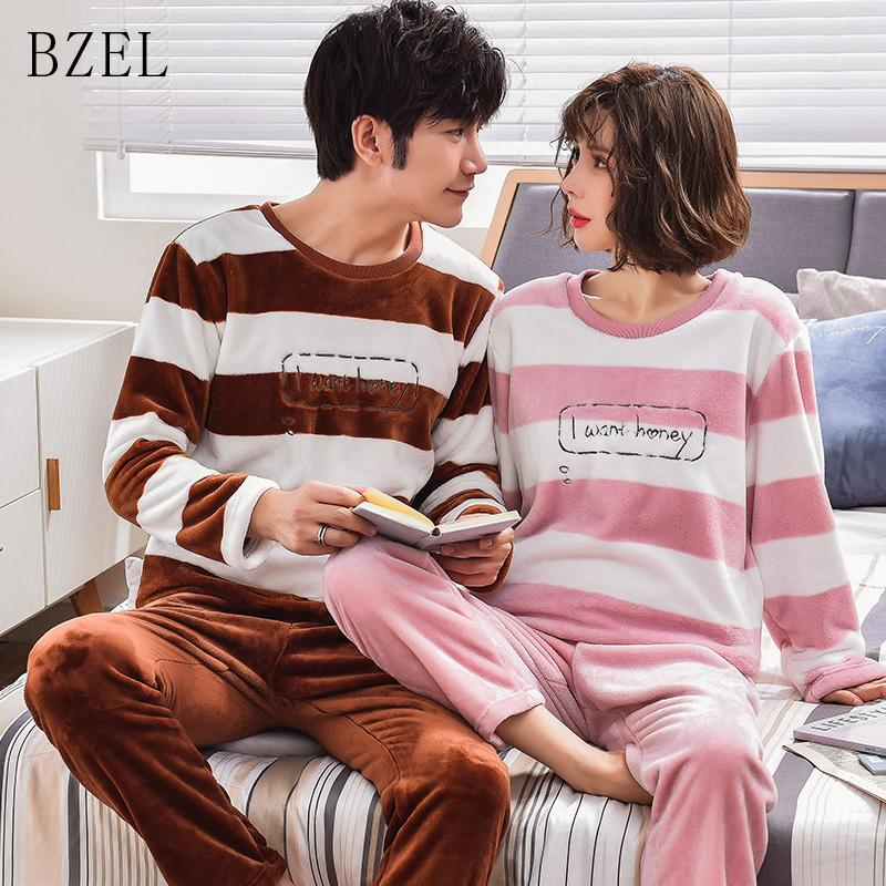cea15952ca6 2019 BZEL Flannel Striped Home Wear Winter Couple Pajamas Women And Men  Unisex Look Round Neck Flano Leisure Home Cloth Underwear From Shutie