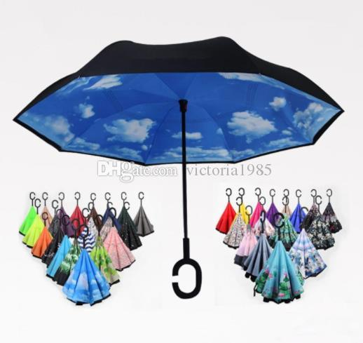 New Folding Reverse Winddicht Regenschirm Double Layer Inverted Long Handle Winddicht Regen Auto Regenschirme C Griff Regenschirme