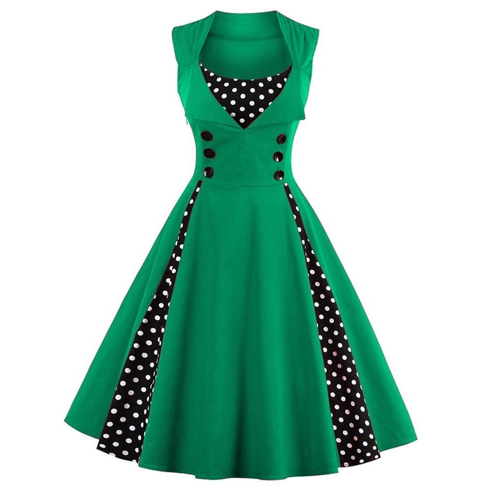 ca17a06369a Women 5xl 50s 60s Retro Vintage Dress Polka Dot Patchwork Sleeveless Spring  Summer Red Dress Rockabilly Swing Party Dress Prom Dresses Online White  Formal ...