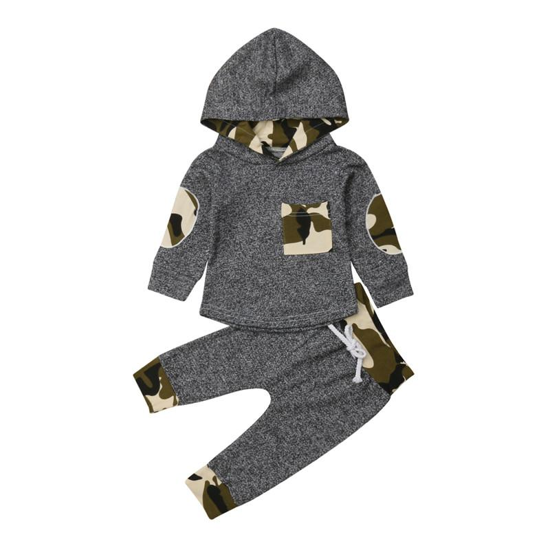 0d11e3935 Baby Boy Camouflage Long Sleeve Newborn Infant Hooded Tops Pants ...
