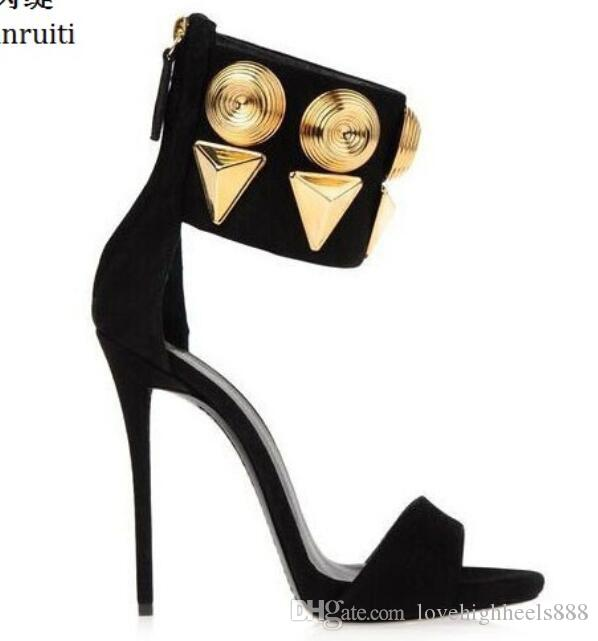 Summer Faux Suede High Heels Women Sandals Sexy Stiletto Heels Women Shoes Studded Rivet Strap Back Zipper Women Pumps