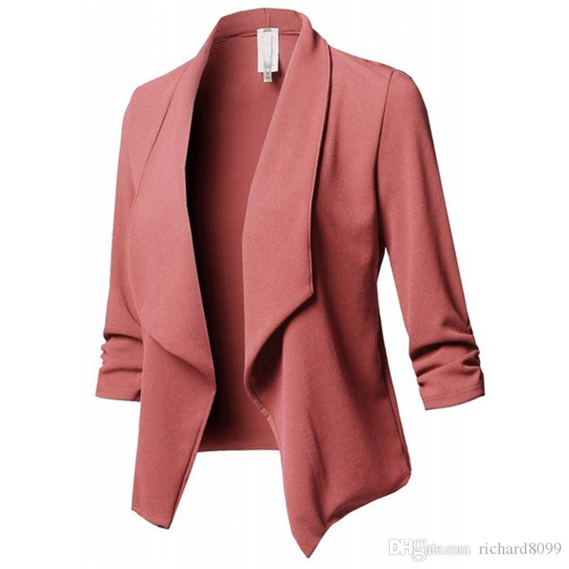 Moda donna Slim OL Casual Blazer Jacket Coat Work Office Lady Suit Suit Nessuno Button Business Femal Blaze Coat