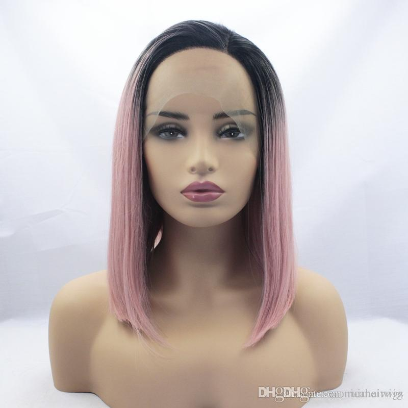 Natural Hairline High Temperature 14inch Fiber 2 Tones Ombre Pink Bob Hair Cosplay Black Roots Straight Synthetic Lace Front Wigs For Women