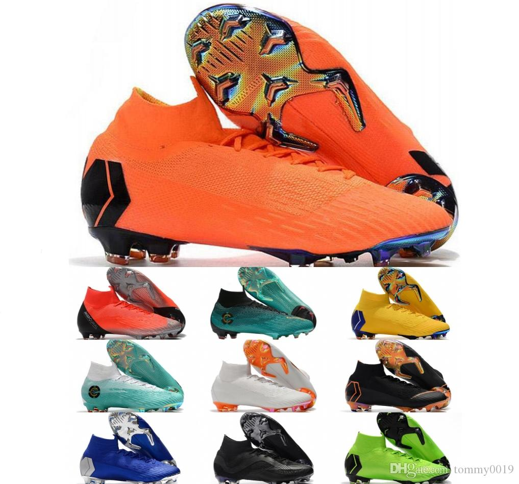 8d7f8dcc5b1 2019 Sport Word Cup Football Boots Men Mercurial Superfly VI 360 Elite  Neymar FG Soccer Shoes High Ankle Kids SuperflyX KJ XII Ronaldo CR7 Cleats  From ...