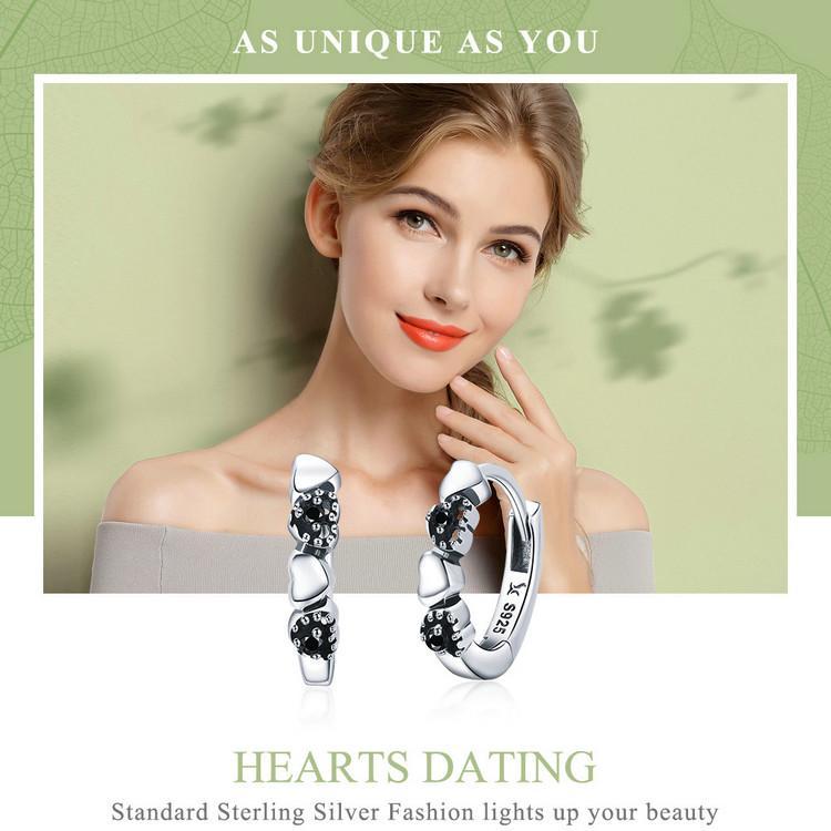 WOSTU Reale Argento sterling 925 Forever Love Heart, Black CZ Orecchini le donne Argento orecchino gioielli Lover Gift CQE445