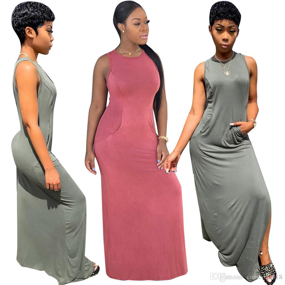 18ca0f4923 Designer Women Clothes Summer Dresses 2019 Sexy Sleeveless Panelled Maxi  Dress Sexy Women Split Long Casual Dress with Pocket Solid Color