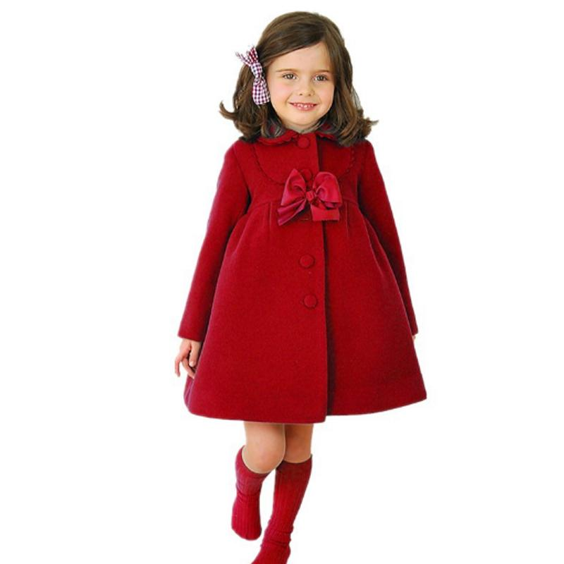 6255ebe7a 2018 Spring Baby Girls Outerwear Coats With Bow Children Warm Clothes Kid  Girl Long Jackets Infantil Cashmere Coat Fashion Red Kids Coats And Jackets  Boys ...