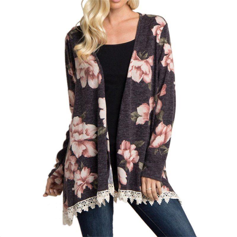 d37d84c33 Women s Plus Size Floral Print Long Sleeve Irregular Hem Splice Lace  Cardigan Coat Femme Casual Coat