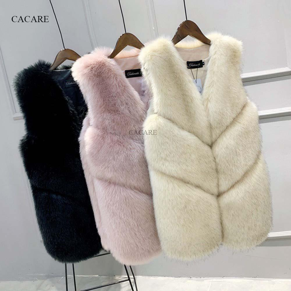 c9e32fbea Faux Fur Coat Vest 2018 Autumn Winter Fluffy Long Fur Coat Fake ...