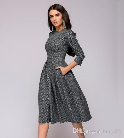 3ed047b2585 Womens Dresses New Arrival 2018 Fall Casual Printing Party Dress Ladies  Autumn Summer Vintage Christmas Dresses Plus Size Lulu Party Dresses 4  Evening ...