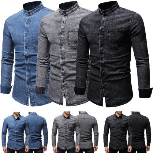 e64329f7b 2019 2019 New Fashion Denim Shirt Men Casual Shirt Slim Fit Long Sleeve  Dress Denim Shirt Jeans Top Plus Size From Zhongguimin, $27.31 | DHgate.Com