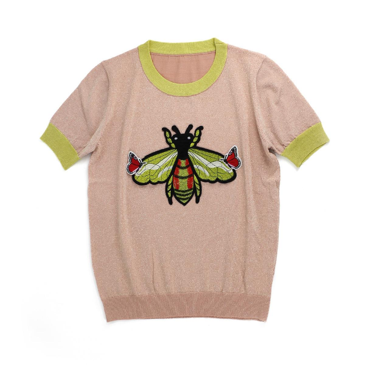 Woman's short-sleeved clothes Small Bee Pattern T T-shirt Female Sleeve Embroidery Butterfly Ice Knitting Blouses Short Summer Thin