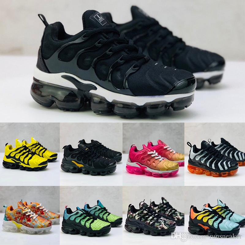 2020 Tn Plus Toddlers Kids Breathable Cushion Running Shoes Baby Children Boys Girls Trainer Bumblebee Triple Black Designer Sports Sneakers