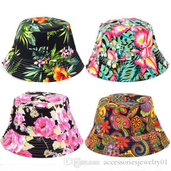 0adc4f968ff Women Floral Sun Hat Design Summer Beach Flower Canvas Boonie Fisherman Hats  Sun Protection Fishing Bucket Hat Cap For Girl Funny Hats Baseball Hat From  ...