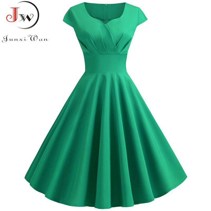 9d76aa5cfaaa6 2019 New Summer Women Vintage Dress Short Sleeve V Neck Casual Elegant  Retro Pin up Party Midi Dresses Vestidos Robe Plus Size