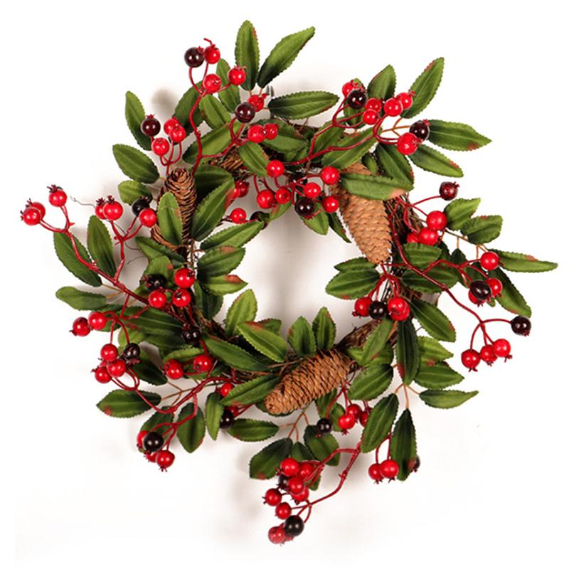 Christmas Wreath Door Decoration Artificial Foam Berry Wreath With Natural Pine Cone Pendant Wall Decor 40cm