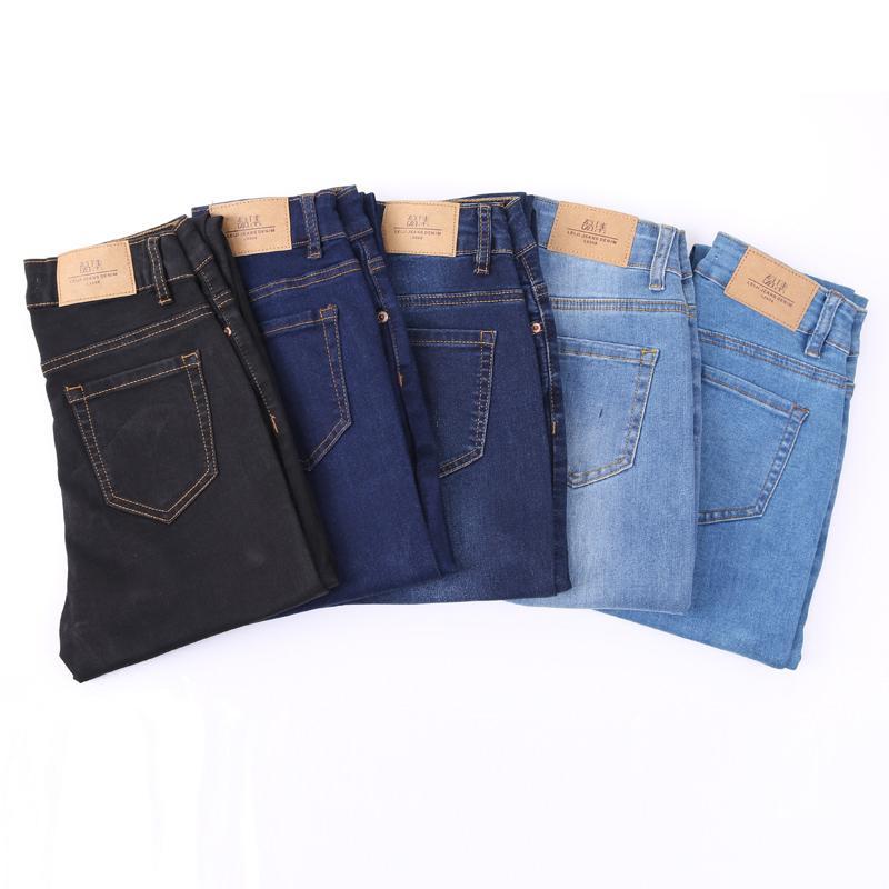 fb8826926 Pantalones vaqueros Mujer Cintura alta Elástico Talla grande Estiramiento  Delgado Mujer lavada Mamá Denim Skinny Pencil Pantalones