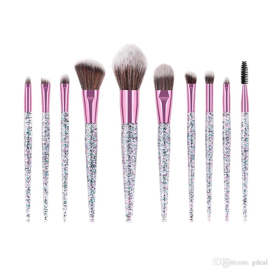 Hot 10pcs Makeup brushes Crystal handle Professional Makeup Brush Set Blush Eye Shadow Makeup Brush with Bag DHL 50