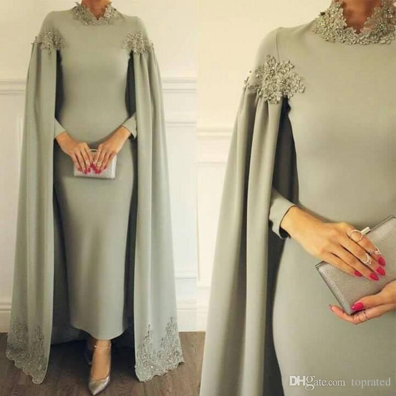 2019 Modest High Neck Sheath Dresses Formal Occasion Evening Party Gowns with Wrap Appliques Ankle Length Arabic Mother Of Bride Groom